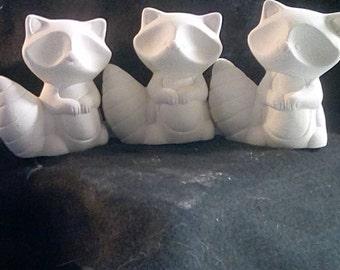 Ceramic bisque Raccoon