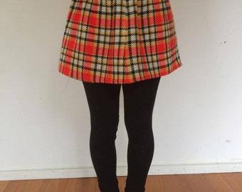 Grunge Punk Vintage Tartan Mini Skirt XS