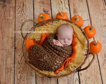 Newborn Cocoon Photo Prop in Brown Sugar