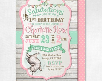 Digital Charlotte's Web 1st Birthday Invitations, Girl Charlotte's Web Invitations, Charlottle's Web Wilber Theme 1st Invitations, DI-3020DP