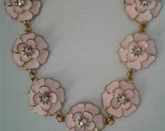 Pink flower necklace, black flower necklace, white flower necklace