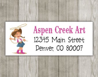 Cowgirl Return Address Labels - Sheet of 30