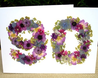 90th Birthday Card, Mum 90th Birthday, Dad 90th, Nan 90th Birthday, Granddad 90th Birthday, Friend 90th Birthday, Pressed Flower PRINT