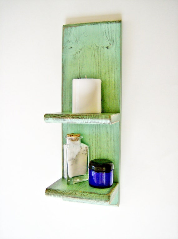 items similar to bathroom decor accessory green wall shelf shabby chic distressed cottage. Black Bedroom Furniture Sets. Home Design Ideas