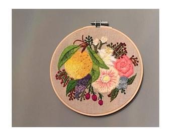 Lemon embroidery art hoop