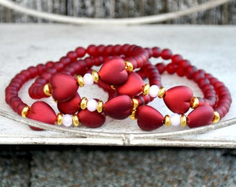 Red Heart Bow Beaded Bracelet (and Matching Heart Earrings)