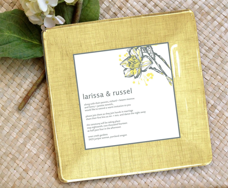 wedding invitation tray decoupage plate keepsake memento