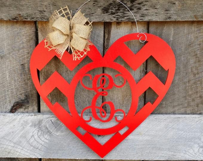 Valentine Door Hanger - Monogram Heart Door Hanger - Valentine's Day Decor - Personalized Valentine Wreath