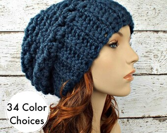 Crochet Hat Womens Hat Slouchy Beanie Slouchy Hat - Souffle Beret in Denim Blue Crochet Hat - Blue Hat Blue Beanie - 34 Color Choices