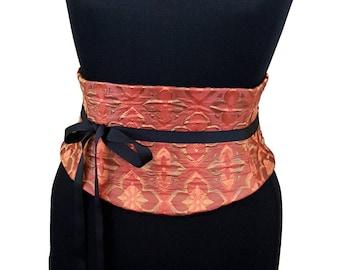 Steampunk Costume Corset / Autumn Colors Waist Cincher / Plus Size Corset / Tapestry Fabric / Renaissance Costume / Adjustable Lace Up Obi