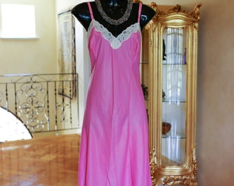 Vintage 1960s Pink Sheer Nylon & Lace Full Slip, Petticoat Size UK 18-20 (313)