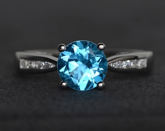 Swiss blue topaz ring round cut blue gemstone ring sterling silver engagement ring promise ring