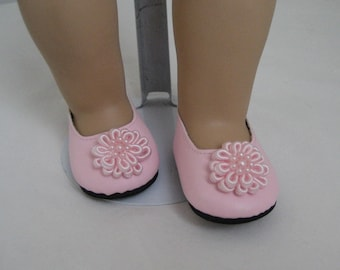 American Doll Accessories-Doll Shoes-Made to fit AMERICAN GIRL DOLLS, Pink Flower Trimmed Shoes Fit American Girl Dolls