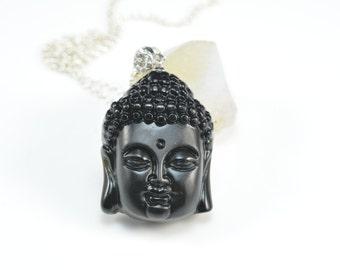 jet black Buddha necklace, black stone necklace, gemstone figure pendant, black jet jewelry,