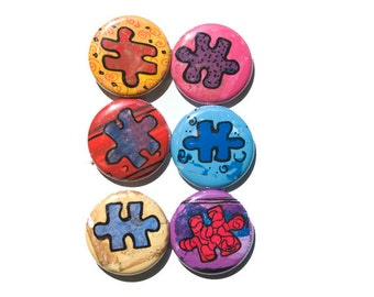 Autism Magnets or Pinback Buttons Set, 1 Inch Puzzle Piece Magnets, Pins, Autism Awareness Gift, Puzzle Pin, Fridge Magnet