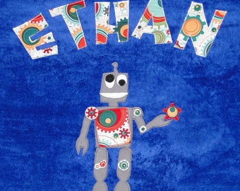 Personalized Large Royal Blue Velour Beach Towel with Funny Robot, Kids Beach Towel, Kids Bath Towel, Camp Towel,Swimming Towel,Baby Towel