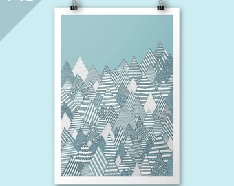 Winter Forest / A3 print / Art print / Illustration / Contemporary art / Christmas art / mountains art print