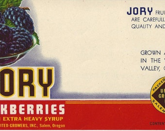 Jory Blackberries Vintage Can Label, 1950s