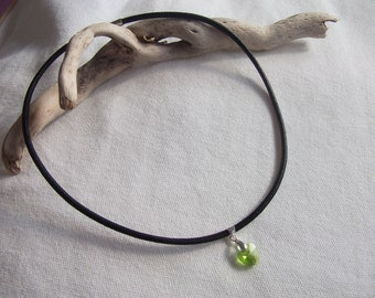 The Choker necklace leather, Crystal heart pendant
