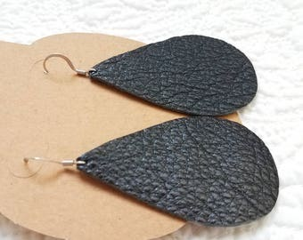 Genuine Leather Teardrop Earrings in Metallic Black