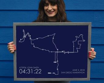 San Diego Marathon Route Print // Minimal Marathon Map Gift // San Diego Personalized Poster // San Diego Runner Gift