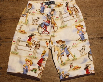 """Shorts/Bermuda """"California"""" (T.5ans) - unisex-cotton print cowgirl ranch tricycle-pockets - brown red Look vintage/retro - O.CAROL"""