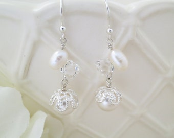 Bridesmaid earrings-Dainty pearl drop earrings-Swarovski wedding earrings-Unique Freshwater pearl bridal earrings-Mother of Bride jewelry
