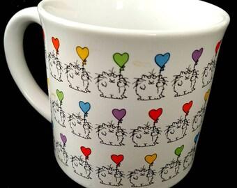Vintage Sandra Boynton Mug Cat Balloons Birthday Celebration Colorful Mug Famous Artist Cartoonist // Made in Japan