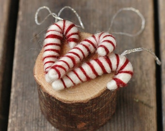 Trio of Candy Canes - Needle Felted Christmas Ornaments