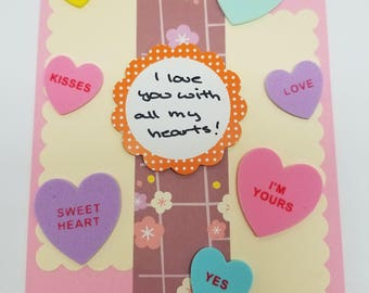 I love you with all my hearts! Handmade Greeting Card * Conversation Hearts * Foodie Love * Valentines Day Card * Anniversary Card