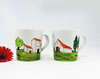 Hand painted porcelain mugs - Set of 2 - Village Provencal collection