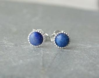 Lapis Lazuli Stud Earrings, 4mm Sterling Silver Studs, Gemstone Stud Earrings, Pierced Ears, Lapis Earrings Sterling Silver Lapis Studs