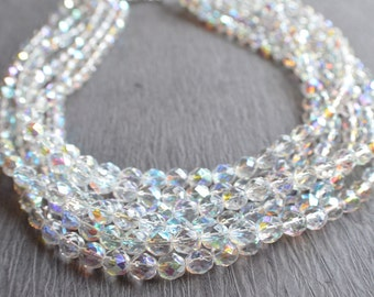 Rebecca - Crystal Aurora Borealis Bridal Multi Strand Statement Necklace