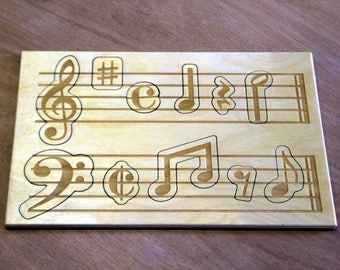 Wooden Music Puzzle, Children's Puzzle, Music notes, Treble Clef, Base, Montessori, Toddler Game, musical staff, teacher gift, Peg puzzle