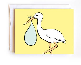 Stork Baby Deliver Card - Baby Shower Card - Congrats Baby Card - New Baby - Hand drawn card - Confetti Card