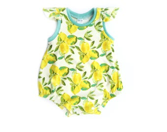 Lemon Romper, Summer Romper, Girls Bubble Romper, Bubble Sunsuit, Baby Girls Romper, Bubble Romper, Flutter Sleeve Romper, Summer Sunsuit