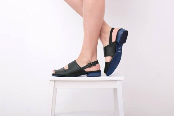 fd30eaa26027d Handmade free Leather Sale Women s On Sandals Green shipping sandals toe  strap peep flat ADIKILAV sandals ...