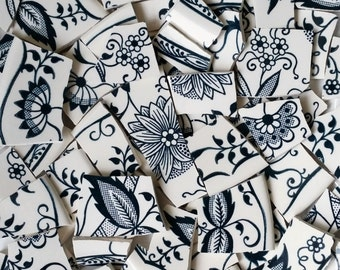Mosaic Tiles--Vintage Blue Flowers-Navy Blue and Creamy white-90 tiles