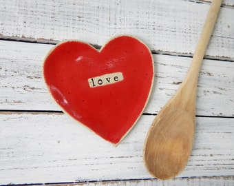 Made to order - LOVE-  Ceramic Heart  - Dish - Spoon Rest - Soap dish - Jewelry HolderValentines Day gift- Wedding favors- shower favors