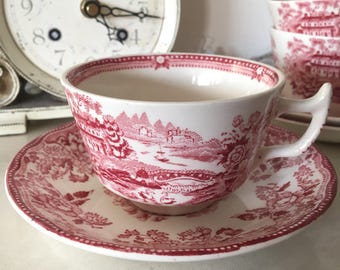 Vintage Alfred Meakin 'Tonquin' Pink Teacup and Saucer