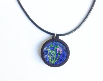 Crocus flower necklace ~ vegan friendly jewellery - embroidered necklace ~ embroidery hoop necklace  ~ handmade jewellery