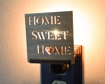 Wooden Nite Lights Interchangeable. Rustic Home Decor LED Night Light.