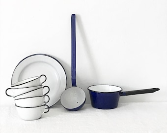 Vintage Cobalt Blue Enamelware Ladle Kitchen Farmhouse Rustic French Country Cooking Utensil Cooking