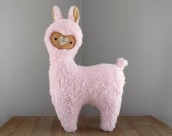 Llama or alpaca stuffed animal, stuffed toy llama or alpaca in light pink and tan, cute stuffed animal llama alpaca, llama or alpaca pillow