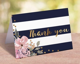 Floral Thank You Cards Baby Shower Printable Thank You Cards Baby Shower Pink and Gold Baby Shower Thank You Notecards Thank You Notes GF1