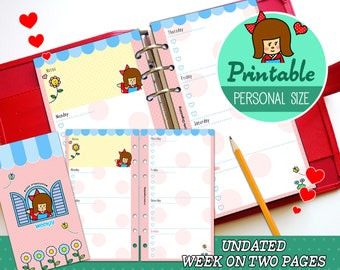 PRINTABLE Personal Size UNDATED Week On Two Pages Cute Kawaii Kokeshi for Filofax Organizer Instant Download