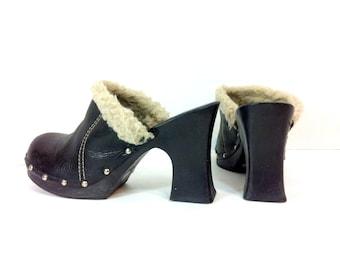 Platform Leather Clogs 8 / Black High Heel Hippie Clogs 8