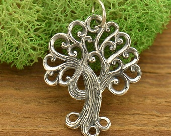 Sterling Silver Family Tree of Life pendant with swirls and curls for branches and roots