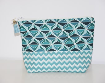 Large makeup case - lined - geometric / Chevron - blue and white tones - gift idea