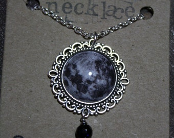 full moon necklace with blue goldstone